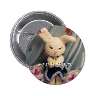 Cute Amigurumi Bunny Rabbit Pinback Button
