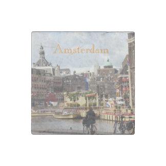 Cute Amsterdam Bike Ride Stone Magnet