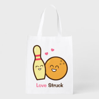 Cute Amusing Bowling Ball and Pin Love Struck Grocery Bag