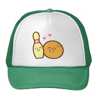 Cute Amusing Bowling Ball and Pin Love Struck Hat