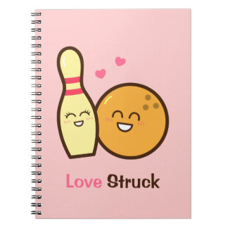 Cute Amusing Bowling Ball and Pin Love Struck Notebooks