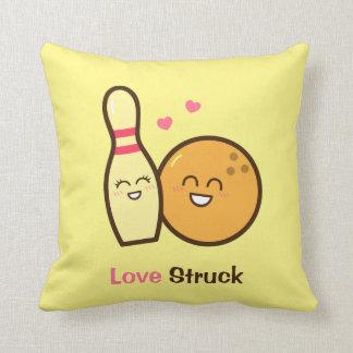 Cute Amusing Bowling Ball and Pin Love Struck Pillow