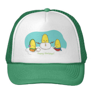 Cute Amusing Christmas Corn Builds Snowman Trucker Hat