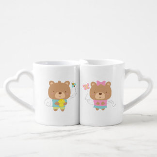 Cute Amusing Couple Bears Pun Cartoon Coffee Mug Set