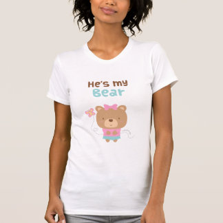 Cute Amusing Couple Female Bear and Butterfly T-Shirt