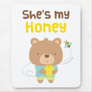 Cute Amusing Couple Male Bear and Bee Mouse Pad