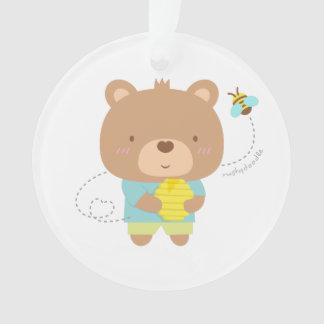 Cute Amusing Couple Male Bear and Bee Ornament
