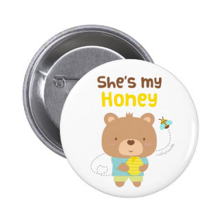 Cute Amusing Couple Male Bear and Bee Pinback Button