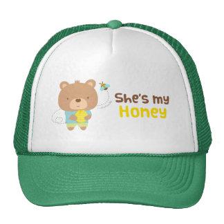 Cute Amusing Couple Male Bear and Bee Trucker Hat