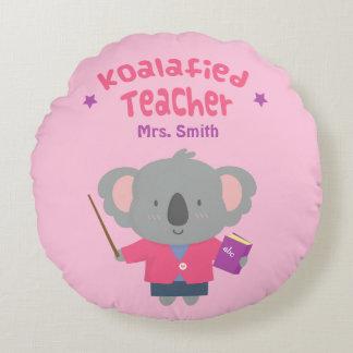 Cute Amusing Pun Koala Bear Teacher Round Pillow