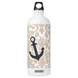 Cute Anchor Almond Color Damask Pattern Aluminum Water Bottle