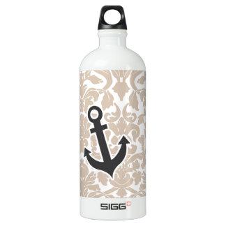 Cute Anchor Almond Color Damask Pattern Aluminum Water Bottle
