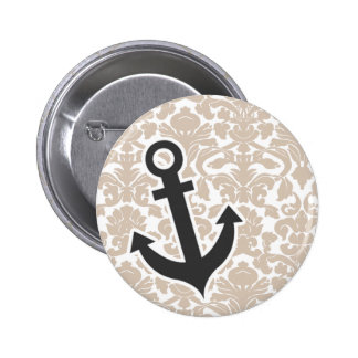 Cute Anchor Almond Color Damask Pattern Button