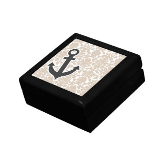 Cute Anchor Almond Color Damask Pattern Jewelry Box