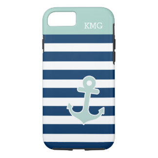 Cute Anchor in Trendy Navy Stripes Initials iPhone 8/7 Case