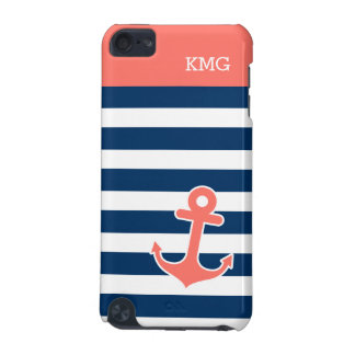 Cute Anchor Monograms in Trendy Coral Navy Strips iPod Touch (5th Generation) Covers