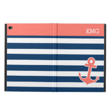 Cute Anchor Monograms in Trendy Coral Navy Strips Powis iPad Air 2 Case