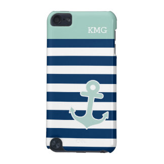 Cute Anchor Monograms in Trendy Mint Navy Stripes iPod Touch 5G Covers