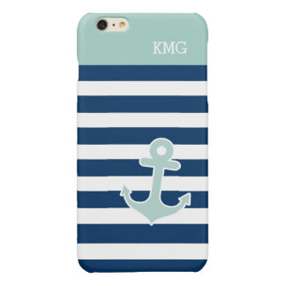 Cute Anchor Monograms in Trendy Mint Navy Stripes Glossy iPhone 6 Plus Case