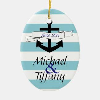 Cute Anchor Nautical Couples Christmas Ornament