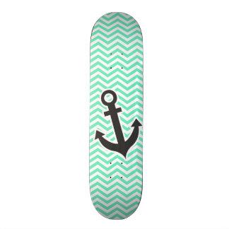 Cute Anchor on Aquamarine Chevron; zig zag Skateboard Deck