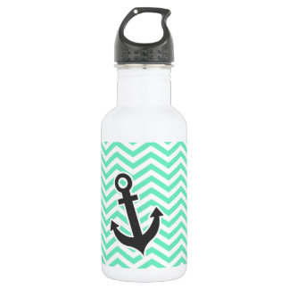 Cute Anchor on Aquamarine Chevron; zig zag Stainless Steel Water Bottle