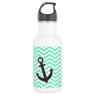 Cute Anchor on Aquamarine Chevron; zig zag Stainless Steel Water Bottle