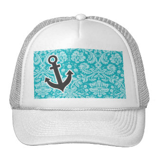Cute Anchor on Blue-Green Damask Pattern Trucker Hat