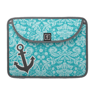 Cute Anchor on Blue-Green Damask Pattern Sleeves For MacBooks