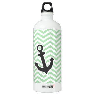 Cute Anchor on Retro Celadon Chevron; zig zag Aluminum Water Bottle