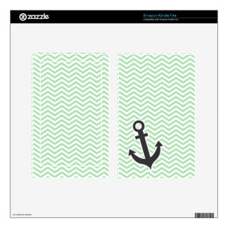 Cute Anchor on Retro Celadon Chevron; zig zag Skins For Kindle Fire