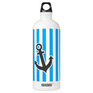 Cute Anchor on Sky Blue Vertical Stripes Aluminum Water Bottle