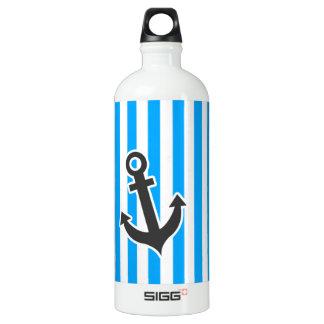 Cute Anchor on Sky Blue Vertical Stripes Aluminum Water Bottle