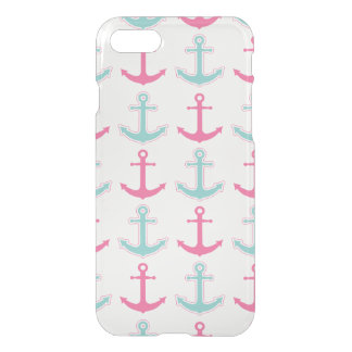 Cute Anchor Pattern Pink and Aqua iPhone 8/7 Case