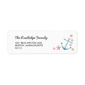 Cute Anchor & Starfish Nautical Label