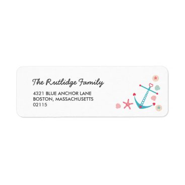 Beach Themed Cute Anchor & Starfish Nautical Label