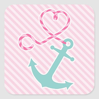 Cute Anchor with Heart Rope - Pink and Aqua Square Sticker