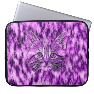 Cute and Adorable Purple Kitten Computer Sleeve