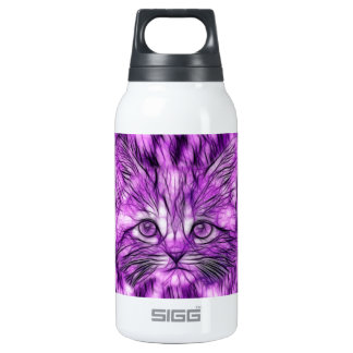 Cute and Adorable Purple Kitten Insulated Water Bottle