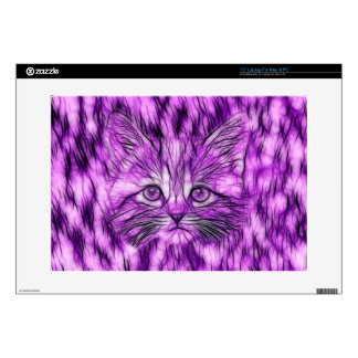 """Cute and Adorable Purple Kitten 15"""" Laptop Decals"""