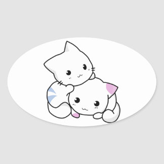 Cute and Adorable White Cats Oval Sticker