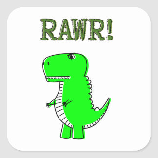 Cute and Angry T-Rex RAWR Square Sticker