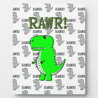 Cute and Angry T-Rex With Black And White Pattern Plaque