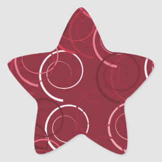 Cute and Beautiful Magenta Brown Ring Pattern Star Sticker