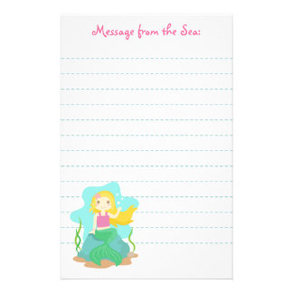 Cute and Beautiful Mermaid, for Girls Stationery