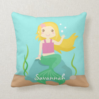 Cute and Beautiful Mermaid for Under the Sea Throw Pillow