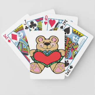 Cute and brown bear bicycle playing cards