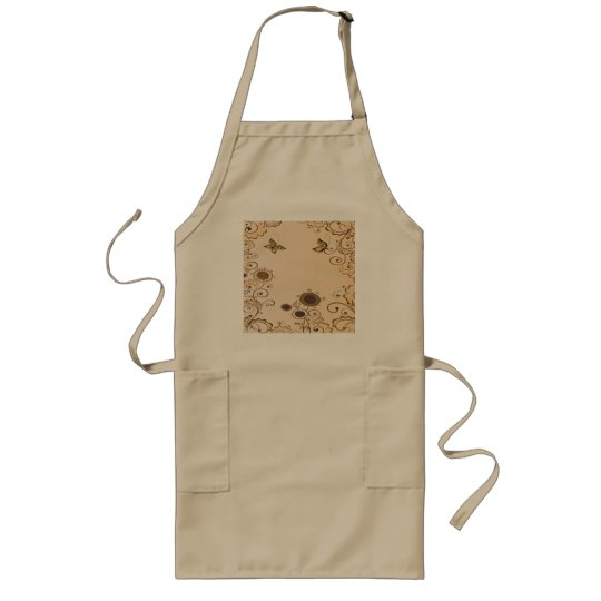 Cute and Brown Flowers Long Apron
