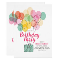 Cute and Colorful Balloons Birthday Invitation