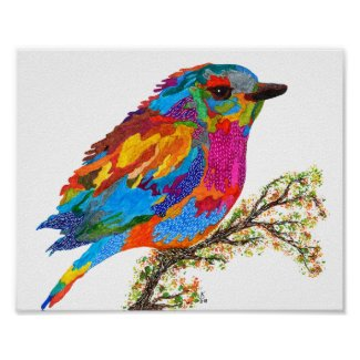 Cute and Colorful Bird on a Branch Poster 10
